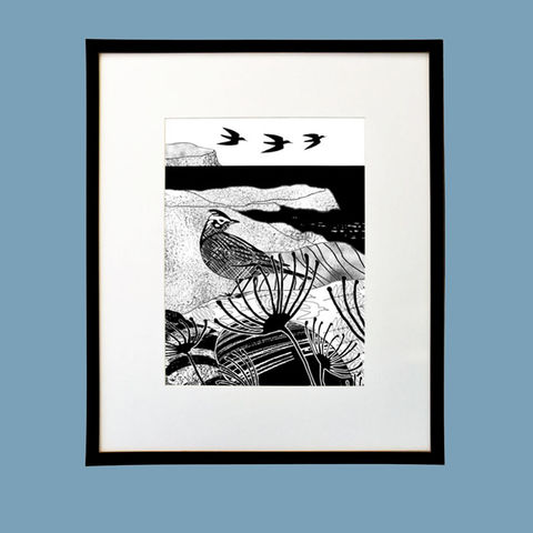 'Ardmore,Skylark',-,original,artwork,cuckoo tree studio,handmade,screenprint,waternish,,original art,ardmore,skylark,isle of skye,scotland,highlands,denise huddleston,skye-art,trees,black and white,scottish art,contemporary art