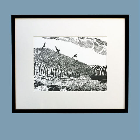 'December',-,original,artwork,cuckoo tree studio,handmade,screenprint,original art,isle of skye,scotland,highlands,denise huddleston,skye-art,trees,black and white,scottish art,contemporary art
