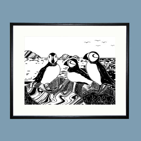 'Puffins',-,original,artwork,cuckoo tree studio,puffins,handmade,screenprint,original art,isle of skye,scotland,highlands,denise huddleston,skye-art,trees,black and white,scottish art,contemporary art