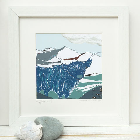 WINTER,HIGHLAND,-,blue/grey.,Limited,Edition,Giclee,Print,cuckoo tree studio,cuillin,waternish gallery,highland cow print,denise huddleston,isle of skye art,giclee print,isle of skye,print,made in scotland,designed and made on the isle of skye,highland print,blue,highland picture,scottish art,skye art trail,SLAC