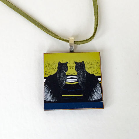 'Daydreams',Pendant,Cat pendant, Skye, Isle of Skye, jewellery, Gifts under £20.00, inexpensive, handmade gift, handmade craft, necklace, pendant, denise huddleston, isle of skye jewellery, fun, wooden