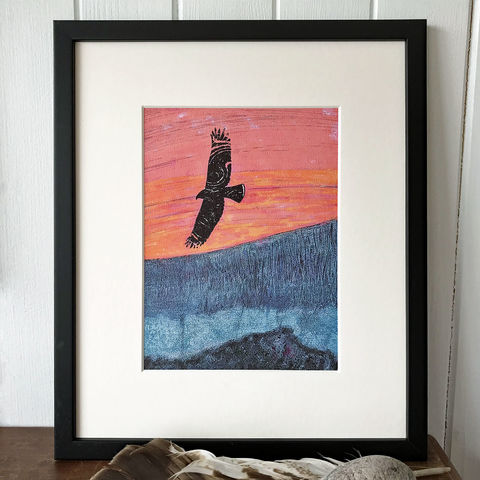 Hunting,at,Dusk,-,Limited,Edition,Giclee,Print,giclee print,art print,cuckoo tree studio,denise huddleston,isle of skye, scottish art,wildlife art, eagle, birds, isle of skye art