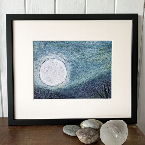 MoonRise,over,the,Hill-,Limited,Edition,Giclee,Print,giclee print,art print,cuckoo tree studio,denise huddleston,isle of skye, scottish art,wildlife art, eagle, birds, isle of skye art