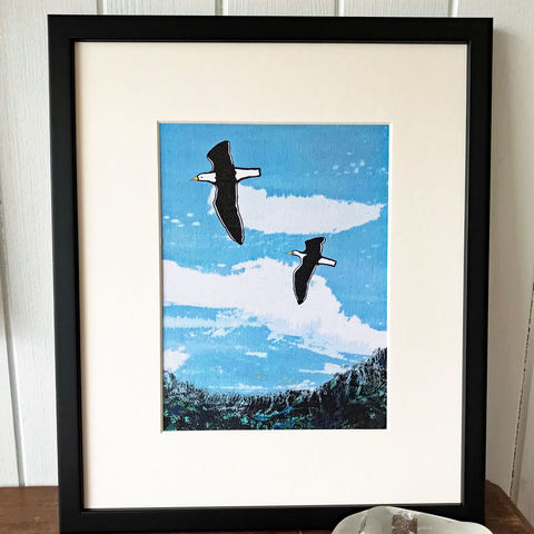 Blue,Sky,Soaring,-,Limited,Edition,Giclee,Print,giclee print,art print,cuckoo tree studio, black back gulls,denise huddleston,isle of skye, scottish art,wildlife art, birds, isle of skye art