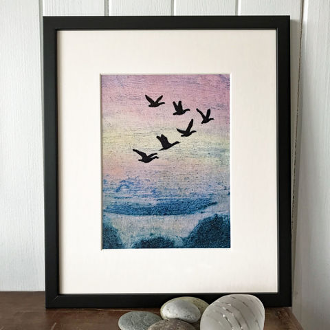 As,the,Geese,fly,North,-,Limited,Edition,Giclee,Print,giclee print,art print,cuckoo tree studio,denise huddleston,isle of skye, scottish art,wildlife art, birds, isle of skye art