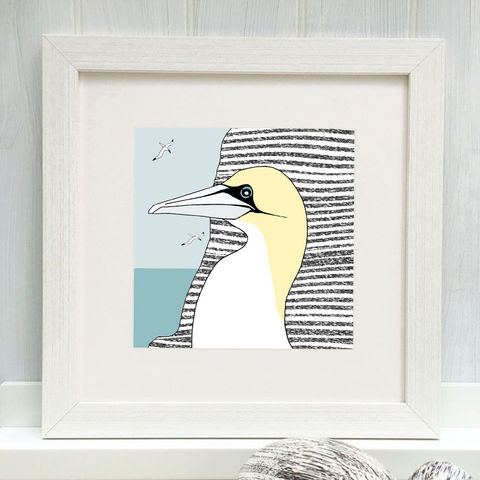 THE,DIVER,-,Limited,Edition,Giclee,Print,cuckoo tree, cuckoo tree studio, gannet, denise huddleston, giclee print, coastal, coastal artwork, sea, shore, hebrides, gannets print, seabirds artwork.