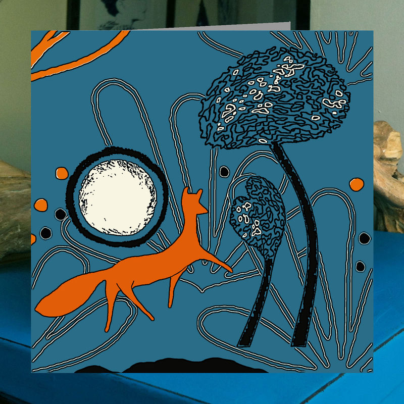 Fox on the Hill - teal - pack of 4 greetings cards - product image