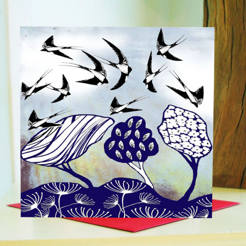 Swallows,(blue),-,pack,of,4,greetings,cards,Greetings cards, Swallows, blue, cuckoo tree, Isle of Skye, Denise Huddleston, Cuckoo Tree Studio, Greetings Cards