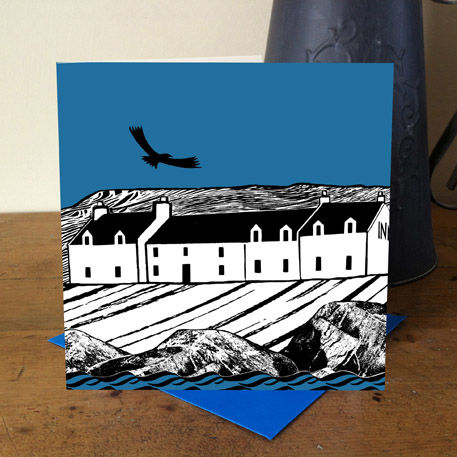Island,Inn,(blue),pack,of,4,greetings,cards,Greetings cards, hebridean inn, island inn card, Stein Inn, Waternish, cuckoo tree, Isle of Skye, Denise Huddleston, Cuckoo Tree Studio, Greetings Cards, green,