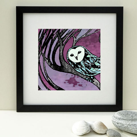 BARN,OWL,-,burgundy.,Limited,Edition,Giclee,Print,giclee print, denise huddleston, cuckoo tree, artwork, cuckoo tree studio, isle of skye, barn owl picture, barn owl, bird print