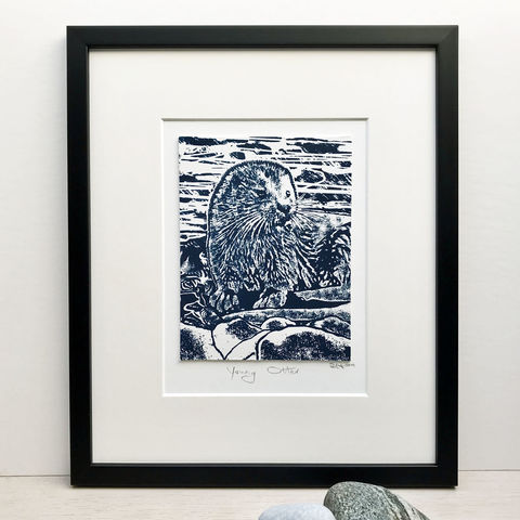 'Young,Otter',-,original,silkscreen,print,screenprint, indigo, original art, handmade print, wildlife art,isle of skye, scotland, highlands, otter, cuckoo-tree-studio,denise huddleston, isle of skye, west coast, original, art, scottish art.