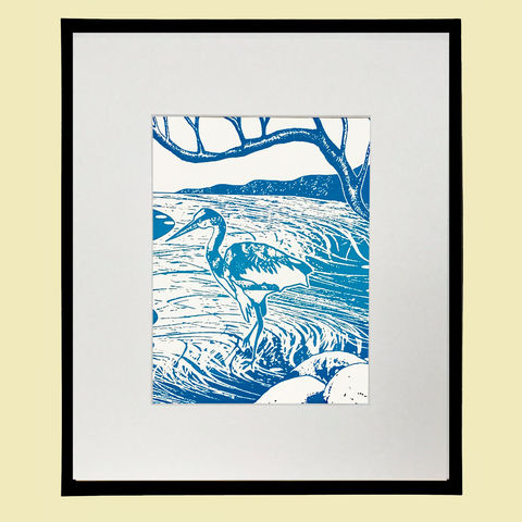 'Loch,Heron',-,silkscreen,print,in,varied,blues.,screenprint, original art, cuckoo, bird print, isle of skye, scotland, highlands, heron