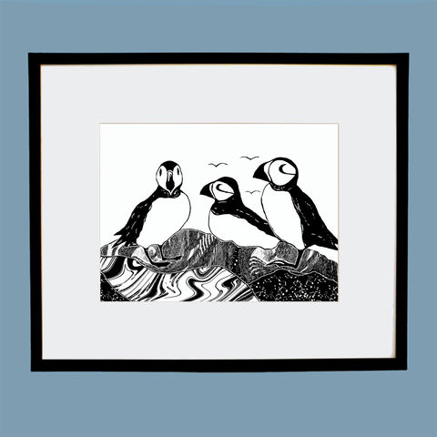 'Puffins',original,artwork,screenprint, original art, puffins,skye birds, isle of skye, isle of skye artist, denise huddleston, cuckoo tree studio, eagle, scotland, highlands