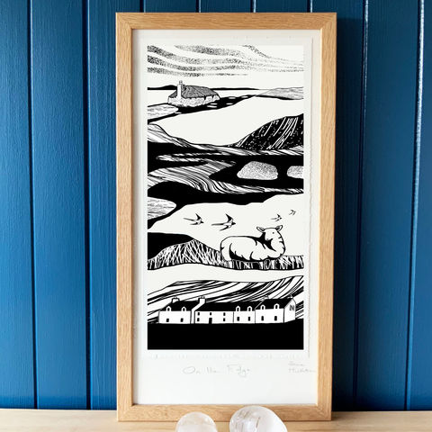 'On,the,Edge,2',-,original,artwork,cuckoo tree studio,waternish, crofts, denise huddleston,croft cottage,Ardmore, Trumpan, wild geese, corncrake,handmade,screenprint,original art,isle of skye,scotland,highlands,denise huddleston,skye-art,trees,black and white,scottish art,contemporary art