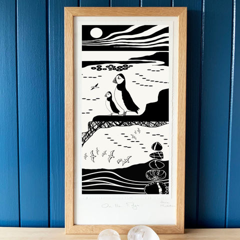 'On,the,Edge,3',-,original,artwork,cuckoo tree studio,waternish, denise huddleston, puffins,hebrides,handmade,screenprint,original art,isle of skye,scotland,highlands,denise huddleston,skye-art,trees,black and white,scottish art,contemporary art