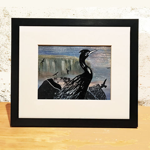 'Isay',-,original,artwork,original art, acrylic, painting, stein, cormorant, island of say, isle of skye, scotland, highlands, denise huddleston, cuckoo tree studio, waternish