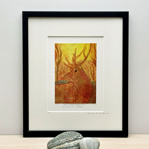Sunlit,Deer,-,Collagraph,collagraph, sunlit deer, screenprint,cuckoo tree studio, original art, coastal art, isle of skye, scotland, highlands, denise huddleston