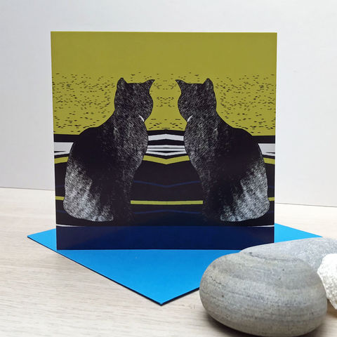Daydreaming,-,pack,of,4,greetings,cards,Greetings cards, daydreaming, cat, cat card, cuckoo tree, Isle of Skye, Denise Huddleston, Cuckoo Tree Studio, Greetings Cards, green,