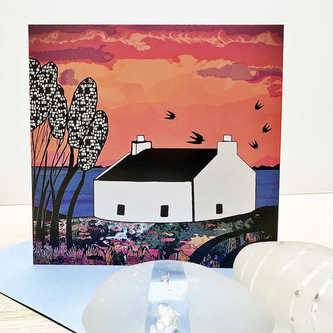 Lochbay,Cottage,-,pack,of,4,greetings,cards,Greetings cards, croft cottages, croft house, highland croft house, cottage cards,Isle of Skye, Denise Huddleston, Cuckoo Tree Studio, Greetings Cards, Coastal