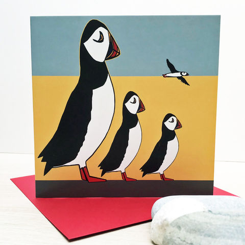 Puffin,Family,-,pack,of,4,greetings,cards,Greetings cards, Puffin Family, Puffin cards, Puffins, Isle of Skye, Denise Huddleston, Cuckoo Tree Studio, Greetings Cards, Coastal