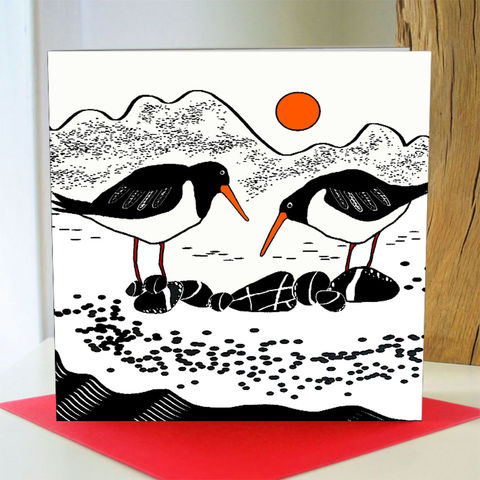 Beach,Boys,-,pack,of,4,greetings,cards,Greetings cards, Shore, Oystercatcher, oystercatcher card,cuckoo tree, Isle of Skye, Denise Huddleston, Cuckoo Tree Studio, Greetings Cards