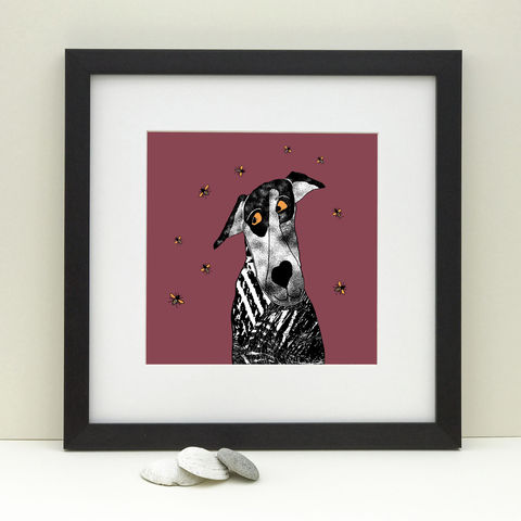 BUZZ,-,Limited,Edition,Giclee,Print,giclee print,art print, dogs, bees,cuckoo tree studio,denise huddleston,isle of skye, scottish art,skye art,dog print, bee print