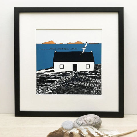 ISLAND,COTTAGE,-,Limited,Edition,Giclee,Print,giclee print,art print,cuckoo tree studio,denise huddleston,isle of skye, scottish art,skye art,croft,house,cottage