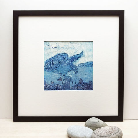Sea,Eagle,-,Collagraph,collagraph, sea eagle, birds, cuckoo tree studio,original art, coastal art, isle of skye, scotland, highlands, denise huddleston