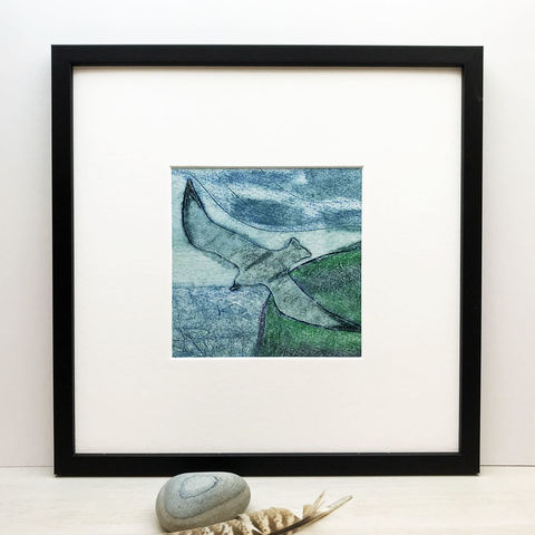 Neist,Point-2,-,Collagraph,collagraph, Neist Point-2, birds, cuckoo tree studio,original art, coastal art, isle of skye, scotland, highlands, denise huddleston