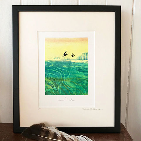 Low,Tide,-,Collagraph,collagraph, dusk2, sea birds, seagull,birds, original art, coastal art, isle of skye, scotland, highlands, denise huddleston