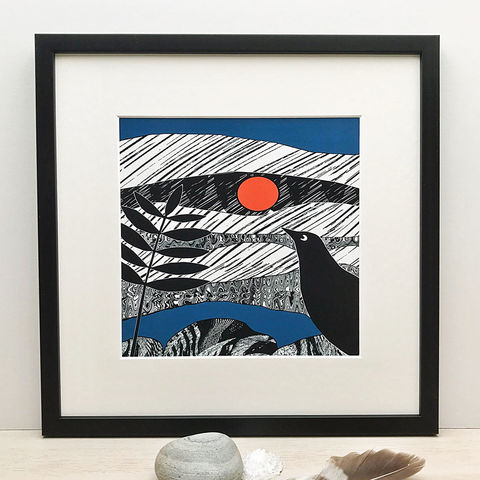 BLACKBIRD,-,Limited,Edition,Giclee,Print,gifts, cuckoo tree, cuckootree, bird print, contemporary blackbird print, cuckoo tree studio, blackbird, black, white, denise huddleston, giclee print, isle of skye, print, scottish art