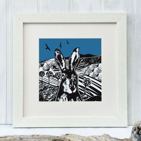 CROFT,HARE,-,blue.,Limited,Edition,Giclee,Print,giclee print,art print, hare print, hare painting,cuckoo tree studio,denise huddleston,isle of skye, scottish art,skye art,hares