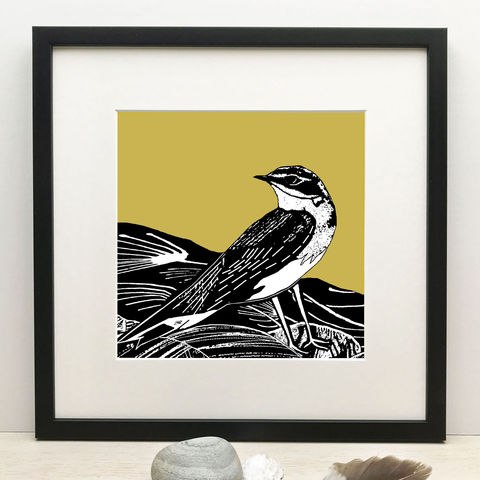 SUMMER,VISITOR,-,vintage,yellow,Limited,Edition,Giclee,Print,summer visitor, vintage yellow print, mustard print,giclee print,art print,cuckoo tree studio,denise huddleston,isle of skye, scottish art,skye art,birds
