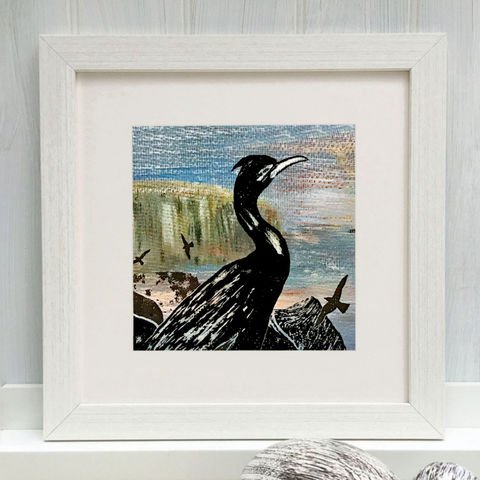 CORMORANT,-,Limited,Edition,Giclee,Print,cuckoo tree, cuckoo tree studio, cormorant print, cormorant picture,denise huddleston, giclee print, coastal, coastal artwork, sea, shore, hebrides, seabirds artwork.