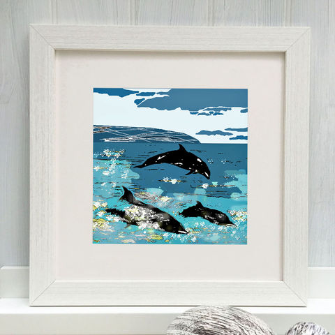 DOLPHINS,-,Limited,Edition,Giclee,Print,gifts, cuckoo tree, cuckootree, blues, coastal, sea, cuckoo tree studio, dolphin, denise huddleston, giclee print, isle of skye, print, scottish art