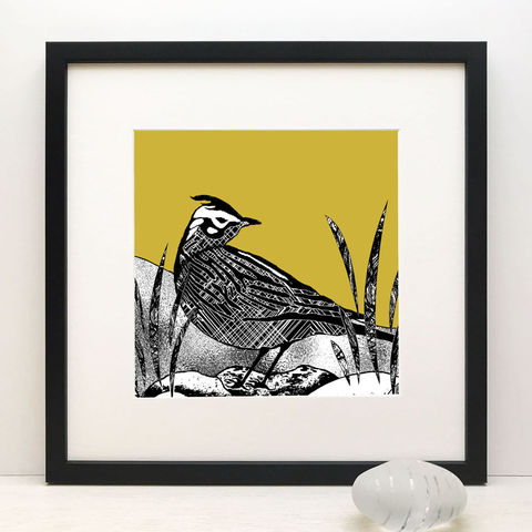 SKYLARK,-,vintage,yellow,Limited,Edition,Giclee,Print,cuckoo tree studio,waternish gallery,skylark print, vintage yellow print, mustard print,denise huddleston,isle of skye art,giclee print,isle of skye,print,made in scotland,designed and made on the isle of skye,highland print,blue,highland picture,scottish