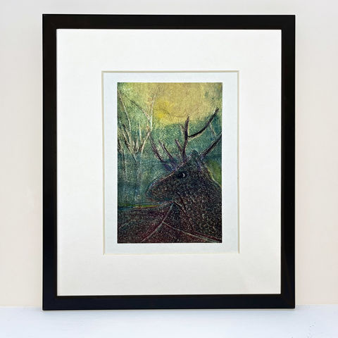 Moonlight,Stag,-,*Artist,Proof,stag, stag picture, deer picture, art, printmaking, silkscreen print, monoprint, original art, scottish art, isle of skye, scotland, highlands, denise huddleston