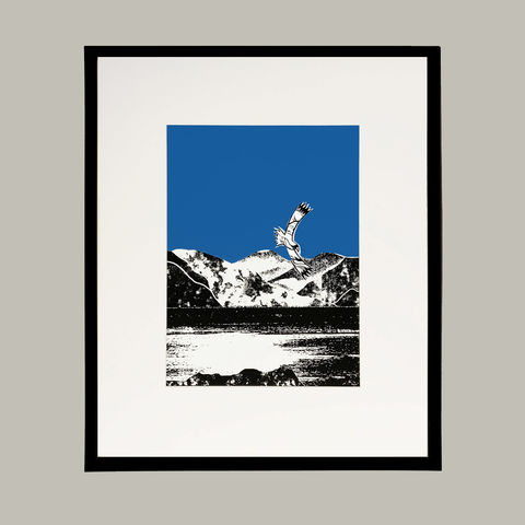 'Skye,Fall,-,blue',original,artwork,screenprint, original art, golden eagle, eagle, isle of skye, scotland, highlands
