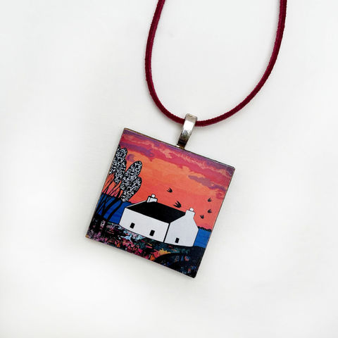 'Lochbay,Cottage',Pendant,Lochbay cottage pendant, Skye, Isle of Skye, jewellery, Gifts under £20.00, inexpensive, handmade gift, handmade craft, necklace, pendant, denise huddleston, isle of skye jewellery, fun, wooden