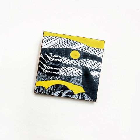 'Blackbird',yellow,-,Brooch,Skye, Isle of Skye, jewellery, Gifts under £20.00, blackbird, inexpensive, handmade gift, handmade craft, brooch, denise huddleston, isle of skye jewellery, fun, wooden