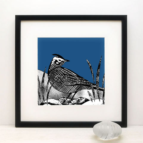 SKYLARK,,deep,blue,-,Limited,Edition,Giclee,Print,giclee print,cuckoo tree studio,denise huddleston,isle of skye,scottish art,skye, art,printmaking,bird print
