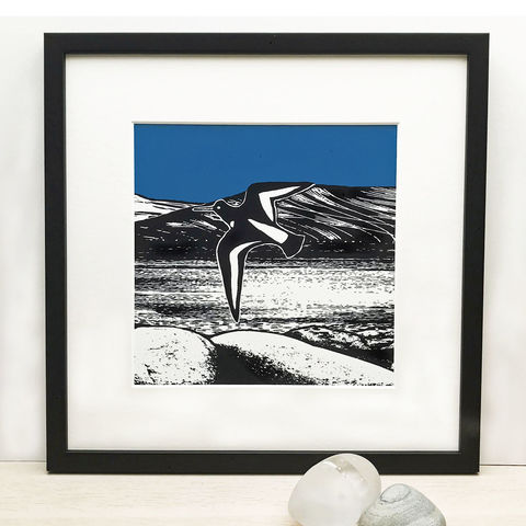 OVER,THE,LOCH,(blue),-,Limited,Edition,Giclee,Print,giclee print,wildlife,seabirds,deep blue,art print,cuckoo tree studio,denise huddleston,isle of skye,scottish art,skye art,graphic art,illustration,oystercatchers,loch dunvegan,landscape