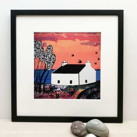 LOCHBAY,COTTAGE,-,Limited,Edition,Giclee,Print,giclee print,art print,cuckoo tree studio,denise huddleston,isle of skye, scottish art,skye art,contemporary art,waternish,lochbay,cottage,croft house