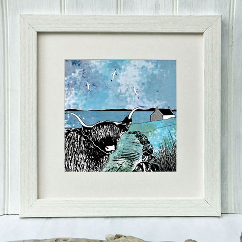 WESTWARD,-,Limited,Edition,Giclee,Print,giclee print,art print,cuckoo tree studio,denise huddleston,isle of skye, scottish art,skye art,highland cow