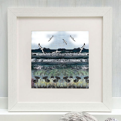 WEST,COAST,-,Limited,Edition,Giclee,Print,cuckoo tree, cuckoo tree studio, denise huddleston, giclee print, coastal, coastal artwork, sea, shore, hebrides, gannets print, seabirds artwork.