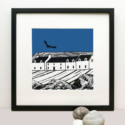 ISLAND,INN,(blue),-,Limited,Edition,Giclee,Print,giclee print,art print,cuckoo tree studio,denise huddleston,isle of skye, scottish art,skye art,stein