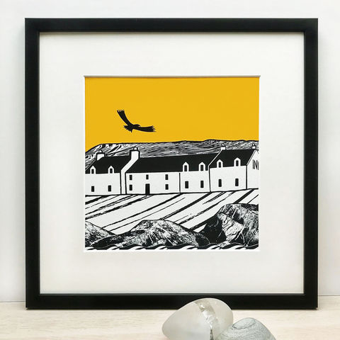 ISLAND,INN,,yellow,-,Limited,Edition,Giclee,Print,giclee print,art print,cuckoo tree studio, yellow, denise huddleston,isle of skye, scottish art,skye art,birds,contemporary art,stein