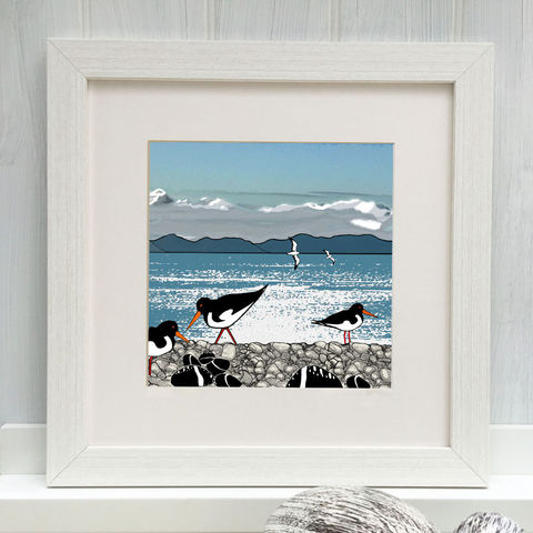 OYSTERCATCHERS,-,Limited,Edition,Giclee,Print,cuckoo tree, cuckoo tree studio, oystercatchers, sea bird,western isles, denise huddleston, giclee print, coastal, coastal artwork, sea, shore, isle 0f skye,hebrides, gannets print, seabirds artwork.