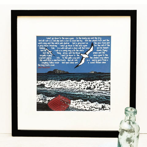 SEA,FEVER,-,giclee,print,giclee print,cuckoo tree,cuckoo tree studio,boat picture,denise huddleston,coastal art,john masefield,sea fever,poetry,script,john masefield poem,isle of skye,sea,boats, ships, sailing, nautical artwork
