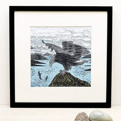 SEA,EAGLE,-,Limited,Edition,Giclee,Print,cuckoo tree, cuckoo tree studio, denise huddleston, giclee print, coastal, coastal artwork, sea, shore, hebrides, gannets print, seabirds artwork.